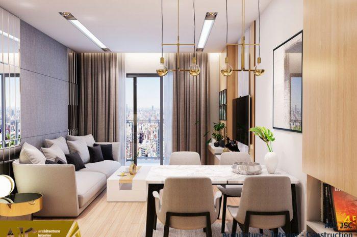 thiết kế và thi công nội thất nhà chị Uyên - quận 7 - phòng khách+ bếp view 2